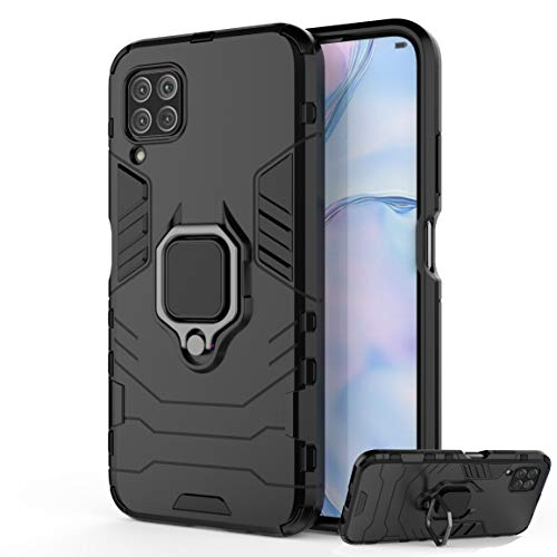 DESCHE para Funda Huawei P40 Lite (4G) / Nova 6SE Carcasa para soporte de anillo + Cristal Templado, compatible con el soporte magnético para automóvil - Nero
