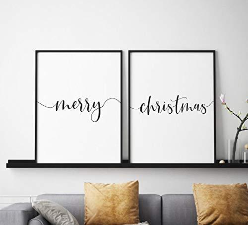 Wood Framed Sign 8x12'' Wooden Prints Printable Merry Christmas Printable Art Set of 2 Wall Art Christmas Printable Christmas Decor Holiday Decor Merry Christmas Sign Wood Signs for Home Decor Quotes