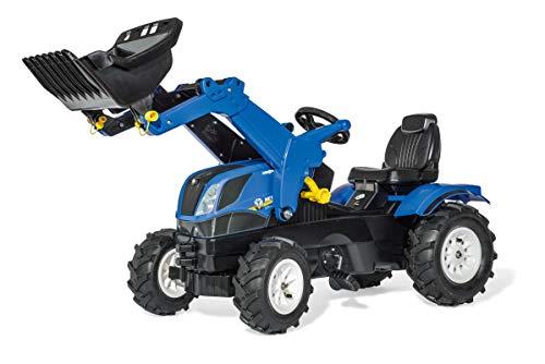 ROLLY TOYS rollyTrac New Holland 611270-Tractor a Pedales para niños de 3 a 8 años, neumático y Asiento Ajustable, Color Azul y Negro, 142 x 81 x 53 cm (611270)
