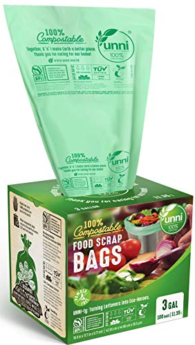UNNI ASTM D6400 100% Compostable Trash Bags, 3 Gallon, 11.35 Liter, 100 Count, Extra Thick 0.71 Mils, Food Scrap Small Kitchen Trash Bags, US BPI and Europe OK Compost Home Certified, San Francisco