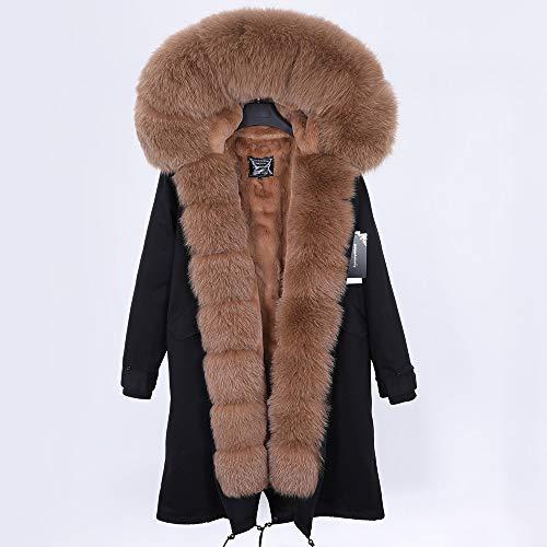 JNXFUZMG 2020 Mujeres de Invierno Abrigo Largo Abrigo de Moda Parques con Capucha Cuello Natural Chaquetas de Invierno (Color : 7, Size : Large)