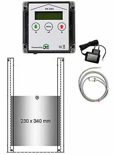 JOSTechnik JT-HK automatische Hühnerklappe 230 x 340 mm mit Zeitschaltuhr & 1m Außenlichtsensor und echter Nothaltefunktion