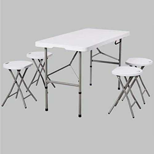 N/Z Tägliche Ausrüstung Klapptische Stühle Set Mehrzweck-Küche ESS-Spiele Leichte tragbare Garten Camping Tisch Stuhl Hocker 1 Klapptisch + 4 Hocker