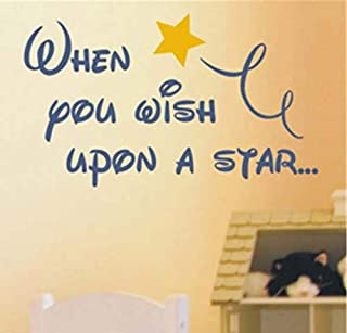 DIY Removable Vinyl Decal Mural Letter Wall Sticker When You Wish Upon A Star for nursry Kid Bedroom
