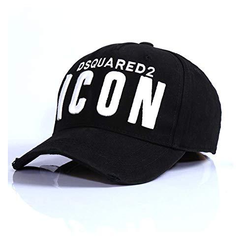 COOLGUY Gorra De Béisbol Icon Letras Bordado De Algodón Icon Hat De Camionero para Hombre Gorras Casquette,Negro
