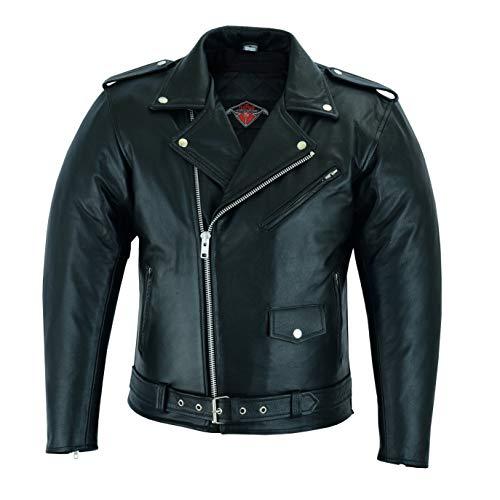 Giacca da uomo in stile Marlon Brando - pelle bovina - nero - Taglia L - circonferenza del petto 106,5cm