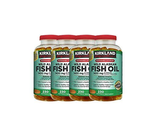 Kirkland Signature Wild Alaskan Fish Oil 1400 mg, 230 Softgels (Pack of 4)