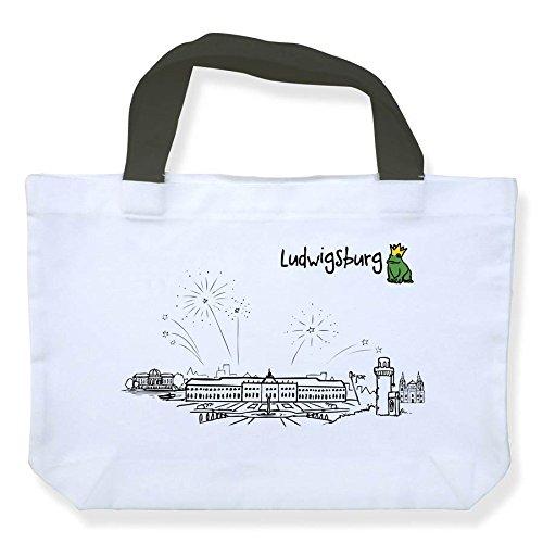Einkaufstasche Skyline Ludwigsburg - als Geschenk für Ludwigsburger & Fans der Barockstadt oder als Ludwigsburg Souvenir - die stadtmeister