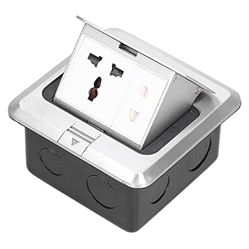 Enchufe de piso 250V Caja de enchufe eléctrico emergente 13A Enchufes de piso Ensamblaje de mesa Impermeable IP40 para el hogar, la cocina, la oficina