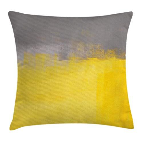 MZZhuBao Funda de cojín de color gris y amarillo, diseño de dibujo con pincel, ilustración de diseño degradado, decorativa, cuadrada, 45,7 x 45,7 cm, amarillo Dimgray