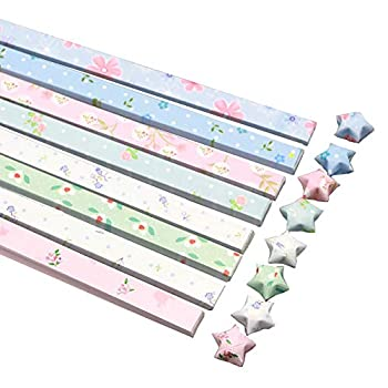 GSHLLO 400 Sheets Cute Floral Origami Stars Paper Folding Strips Package DIY Paper