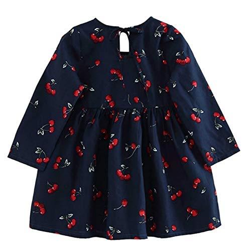 Boutique de Hanks Sxy Girl Dress Robe Enfants Filles Robe à Manches Longues à Carreaux en Coton Doux d'été Princesse Robes bébé Layette (Color : Royal Blue Cherry)