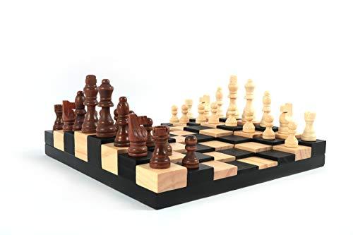 Bucephale Juego de ajedrez de Madera para Adultos con diseño Original en 3D Calidad Tablero peones de ajedrez Original Idea de Regalo Hombre Mujer Padres Padre niños