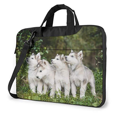 15.6 Inch Funda Bandolera Maletín para Portátil Maletín de Hombro para Negocio Viaje Cachorro de Perros Malamute de Alaska Corriendo en el jardín