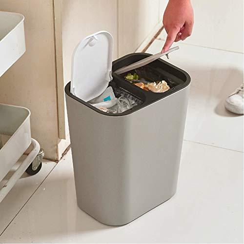Trockene und nasse Trennung Mülleimer Großer Mülleimer mit 2 Deckeln Push Type Abfalleimer für Küche Büro Wohnzimmer Doppelfach