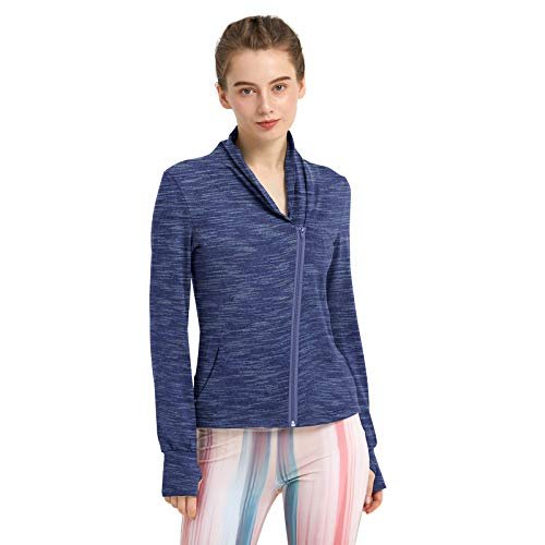 RainbowTree Women's Full Zip-up Yoga Workout Running Track Jacket with Thumb Holes Two Side Pocket