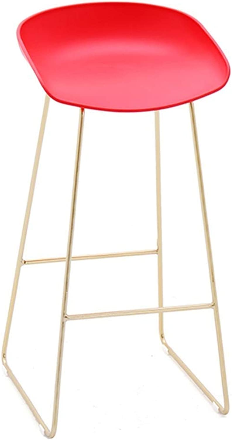 Iron Fashion Bar Stool Kitchen Breakfast Chair Back Foot Stool Design Coffee Shop HENGXIAO (color   Red)
