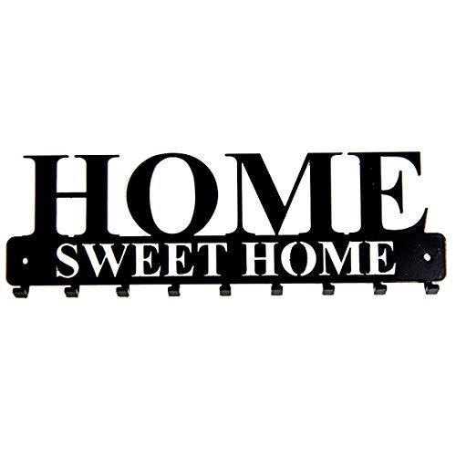 tradeNX Tastiera a muro 'Home Sweet Home' con 9 ganci in acciaio neri - montaggio a parete per giacche, chiavi o asciugamani - hardware di montaggio incluso