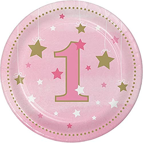 Creative Converting 322250 One Little Star Girl-1st Birthday Luncheon Plates Teller, Papier, Rosa und Gold
