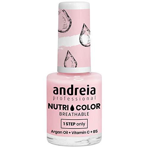 Andreia Professional NutriColor - ademende veganistische nagellak - kleur NC21 melkachtig roze - 10,5 ml