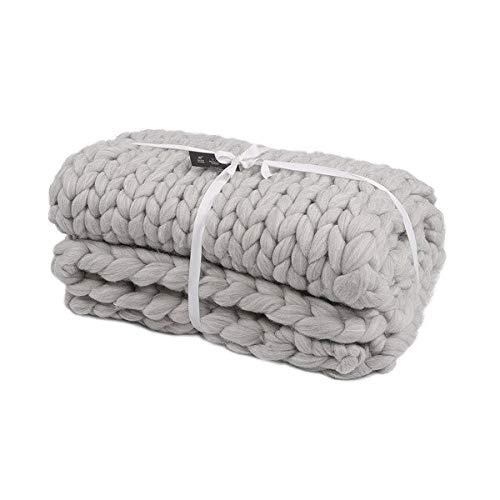 OZINHOME BF0000284 Couverture tricotée en Grosse Maille Gris 4,20 kg
