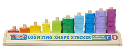Melissa & Doug Counting Shape Stacker (Wooden Educational Toy with 55 Shapes and 10 Number Tiles)