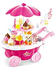 ARHA IINTERNATIONAL Big Size Portable Suitcase Shape Musical Kitchen Set Toy for Kids with Light and Accessories (Ice-Cream Trolly)