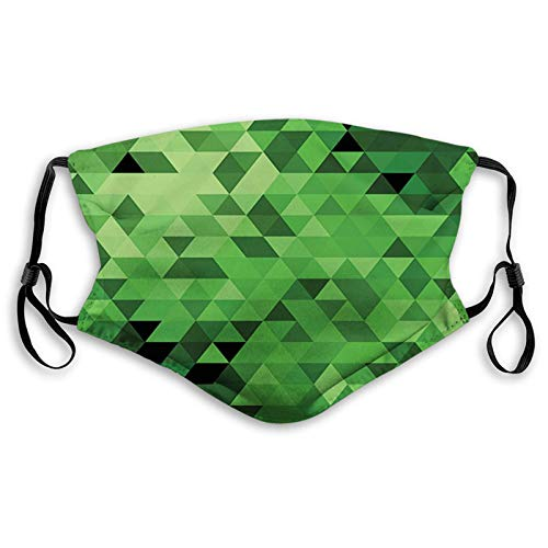 WEDA Triangles in Green Shades Abstract Modern Mosaic Pattern Unisex dust masks, washable and reusable outdoor dust masks, special holiday funny mask gifts