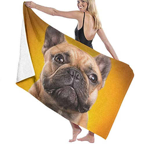 KENADVI Microfiber Beach Bath Towel,French Bulldog Isolated Over Orange Background Retouched,Absorbent Light Weight Beach Blanket Quick Dry Cool Pool Beach Swim Towels