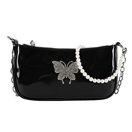 SUGARBABY Schwarz Shoulder Bag mit glänzende Schmetterling,90er Jahre Umhängetasche Damen,Retro Y2K Umhängetasche Bag,Retro Classic Clutch Handtasche Schultertasche