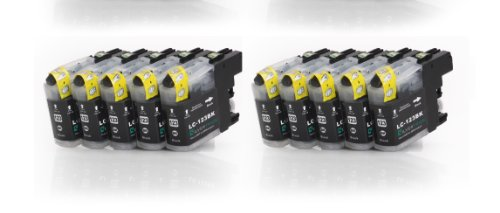 10x schwarz XL Druckerpatronen (LC-121BK/LC-123BK) kompatibel zu BROTHER mit CHIP für Brother DCP-J752DW MFC-J870DW J6920 DW J4110 DW J4410 DW J4510 DW J4610 DW J4710 DW