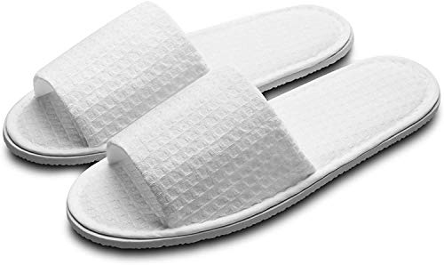 Echoapple 5 Pairs of Waffle Open Toe White Spa Slippers-Two Size Fit Most Men and Women for Spa, Party Guest, Hotel and Travel (Open-back, numeric_6)