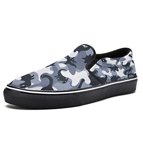 TIZORAX Dinosaurier auf Camouflage Armee Slip on Loafer Schuhe für Herren Jungen Mode Canvas Flach Bootsschuh, Mehrfarbig - mehrfarbig - Größe: 39 2/3 EU