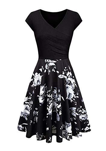 YMING Damen V-Ausschnitt Kleid Sexy Flügelärmel Kleid Knielang Kleider Blumen/Schwarz XS
