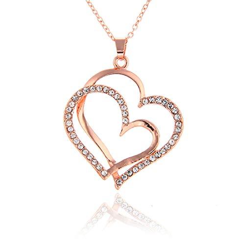 HUNO Juego de joyería de Boda de Oro Rosa de 14 Quilates con Doble Forma de corazón y Cristales Brillantes