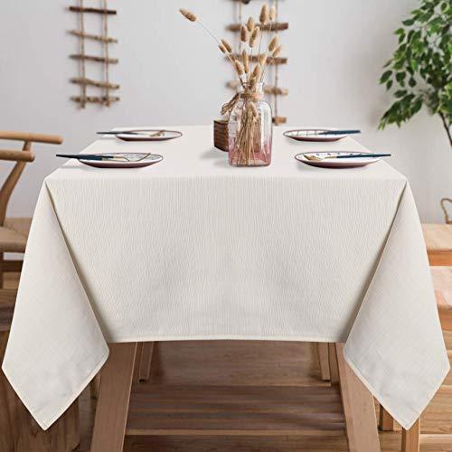 LinTimes Tischdecken Unifarbe Wasserdicht Tischtuch Pflegeleicht Abwaschbar Tischdecke Beige Fleckschutz Tischwäsche Enger Streifen Effekt Tischläufer, 140cmx180cm Rechteck