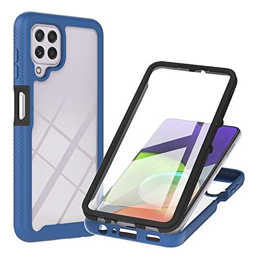 XYOUNG Funda para Samsung Galaxy A22 4G (6,4 pulgadas), carcasa protectora transparente con protector de pantalla integrado, color azul