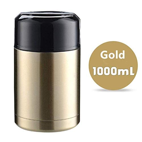 Pgs Water Cup, roestvrij staal Soep Containers met grote capaciteit thermosflessen, Portable Lunch Bento Box, vier kleuren, 800ml, 1000ml (Color : Gold, Size : 1000ml)