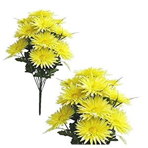 LINESS for Yellow 16-Gerbera Mums 21″ Bush Faux Silk Flower Home Office Wedding Decor US DIY LINESS for Floral Décor Candle Holders & Accessories