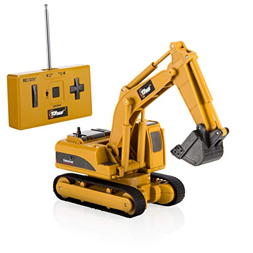 Top Race 4 Channel Mini Remote Control Excavator 1:64 Scale, Mini Construction Toys Series (TR-011)