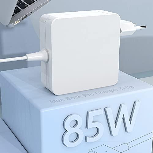 Compatible con 85W Mac Book Pro Cargador Adaptador de alimentación magnético 2 T-Tip, reemplazo Mac Book Charger para Mac Libro 13'& 15' & 17'(después de 2012Late), Funciona con 45W/ 60W/ 85W