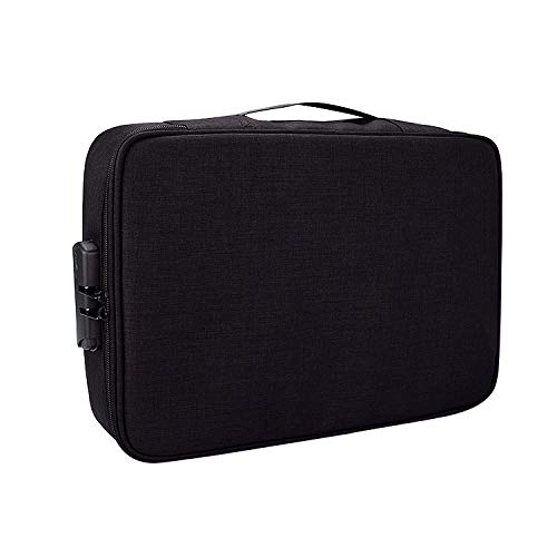 Borse per Notebook e Accessori ZJ01 Poliestere Impermeabile a più Strati di Document Storage Bag Laptop Bag for Tutti i Formati dei Computer Portatili, con Password di Blocco (Nero) Ctj