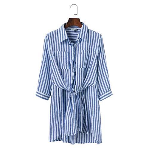 Cnsdy dames shirt strepen geknoopte riem POLO kraag lange mouw Shirt