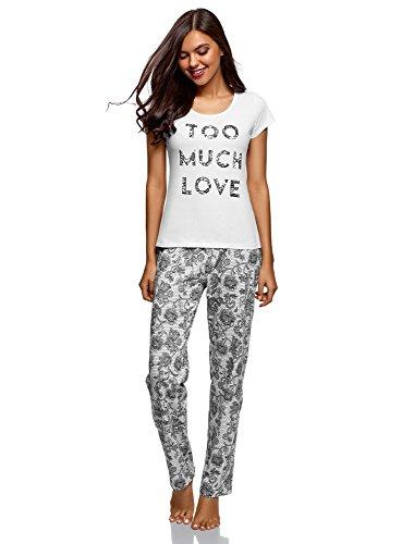 oodji Ultra Mujer Pijama de Algodón con Pantalones, Blanco, ES 40 / M