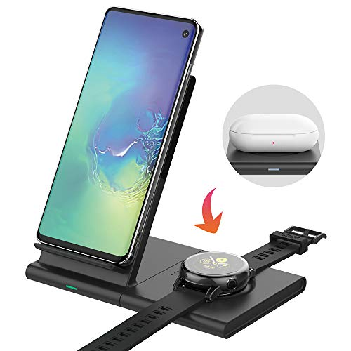 Mostof Wireless Charger Stand with Pad, Qi Fast Charging Station Compatible with Samsung Watch Active/Active 2/42mm/46mm/Gear, Galaxy Note10/S10/S9, i Phone 11/11 Pro/XR/X/8, AirPods 2, Galaxy Buds