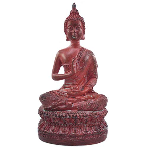 Ornerx Thai Sitting Buddha Statue for Home Decor Red 6.7 '
