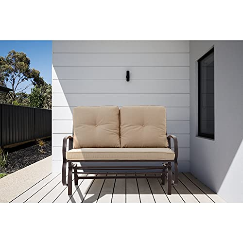 Patio Glider, YOUDENOVA Outdoor Patio Swing Glider Bench Loveseat for 2 Person Rocking Porch Furniture Glider, Steel Frame Chair Set with Cushion, Sand