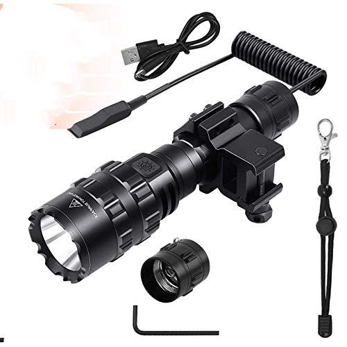 N-B Linterna táctica de 1600 lúmenes con clip de montaje linterna + batería recargable + interruptor remoto luz para armas de caza al aire libre