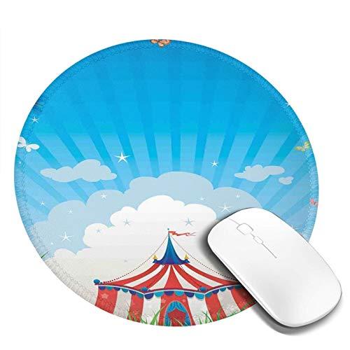 Bonita alfombrilla de ratón, tienda de campaña de circo de viaje con nubes mariposas y cielo claro Festival felicidad, para oficina, hogar, juegos, portátil, hombres, mujeres y niños