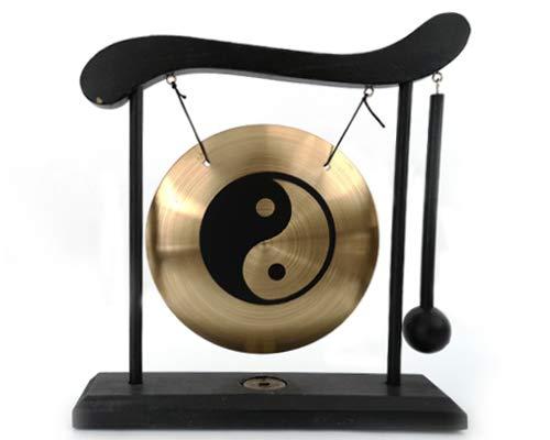 Tisch-Gong Holzständer Fengshui Tischgong inkl.Schlegel viele Motive (Yinyang)
